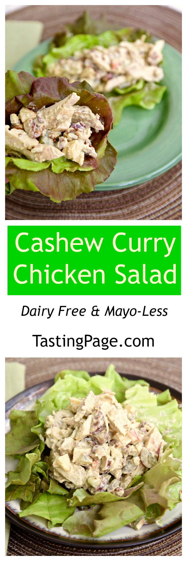 Mayo-less Dairy Free Cashew Curry Chicken Salad | TastingPage.com