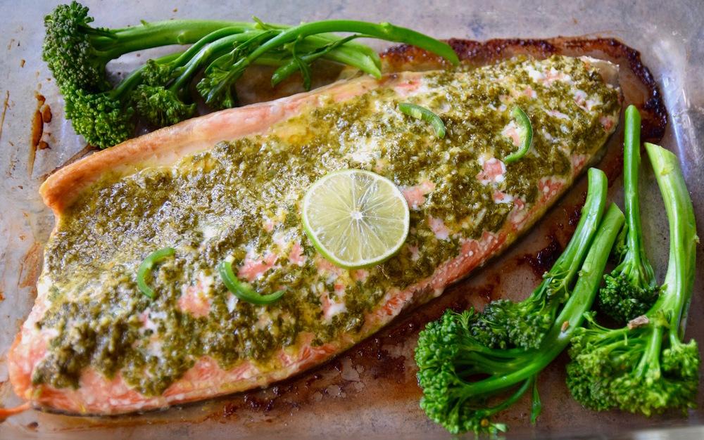 Baked Lime Cilantro Salmon | TastingPage.com