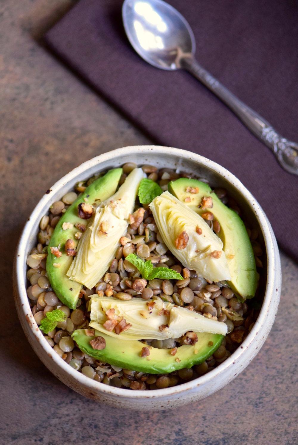 Avocado Artichoke Lentil Salad - gluten free, dairy free and vegan | TastingPage.com