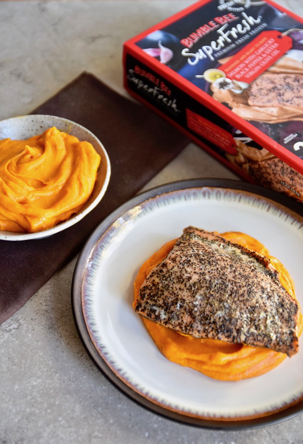 25 Minute Salmon with Carrot Ginger Puree - gluten free & dairy free | TastingPage.com