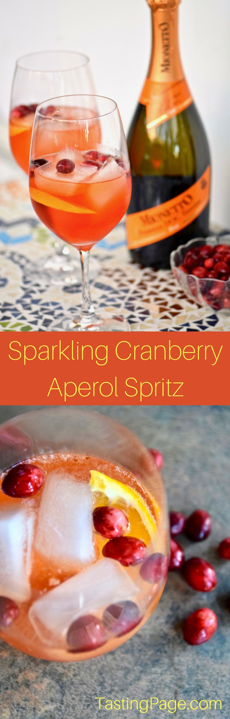 Sparkling Cranberry Aperol Spritz - great holiday party cocktail | TastingPage.com