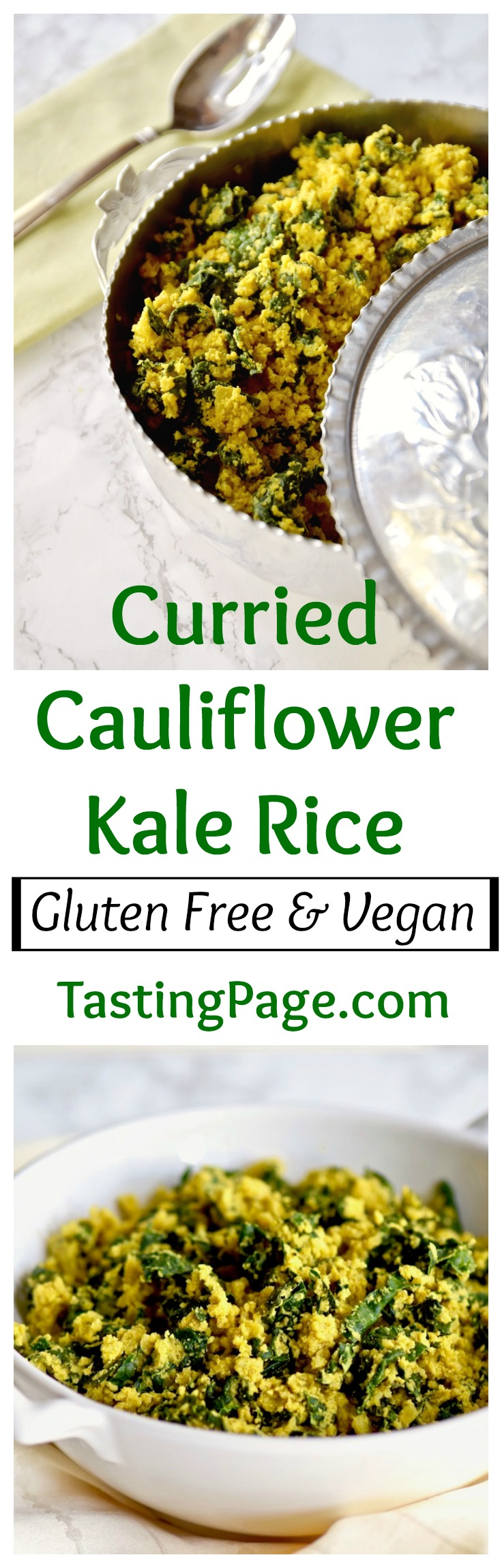 Curried cauliflower kale rice - gluten free, dairy free and vegan | TastingPage.com