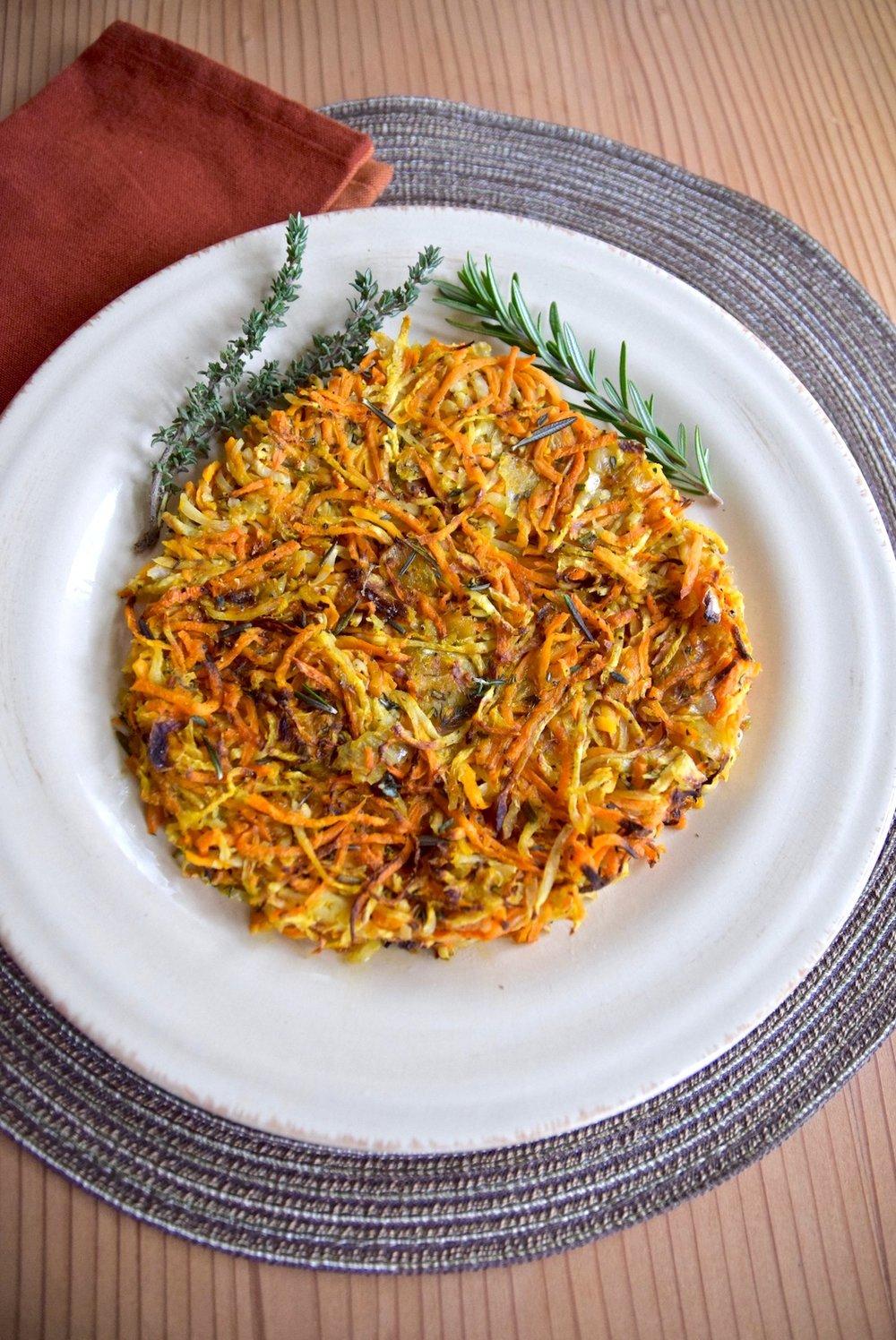 Celeriac Sweet Potato Hash Browns - paleo, vegan, gluten free | TastingPage.com