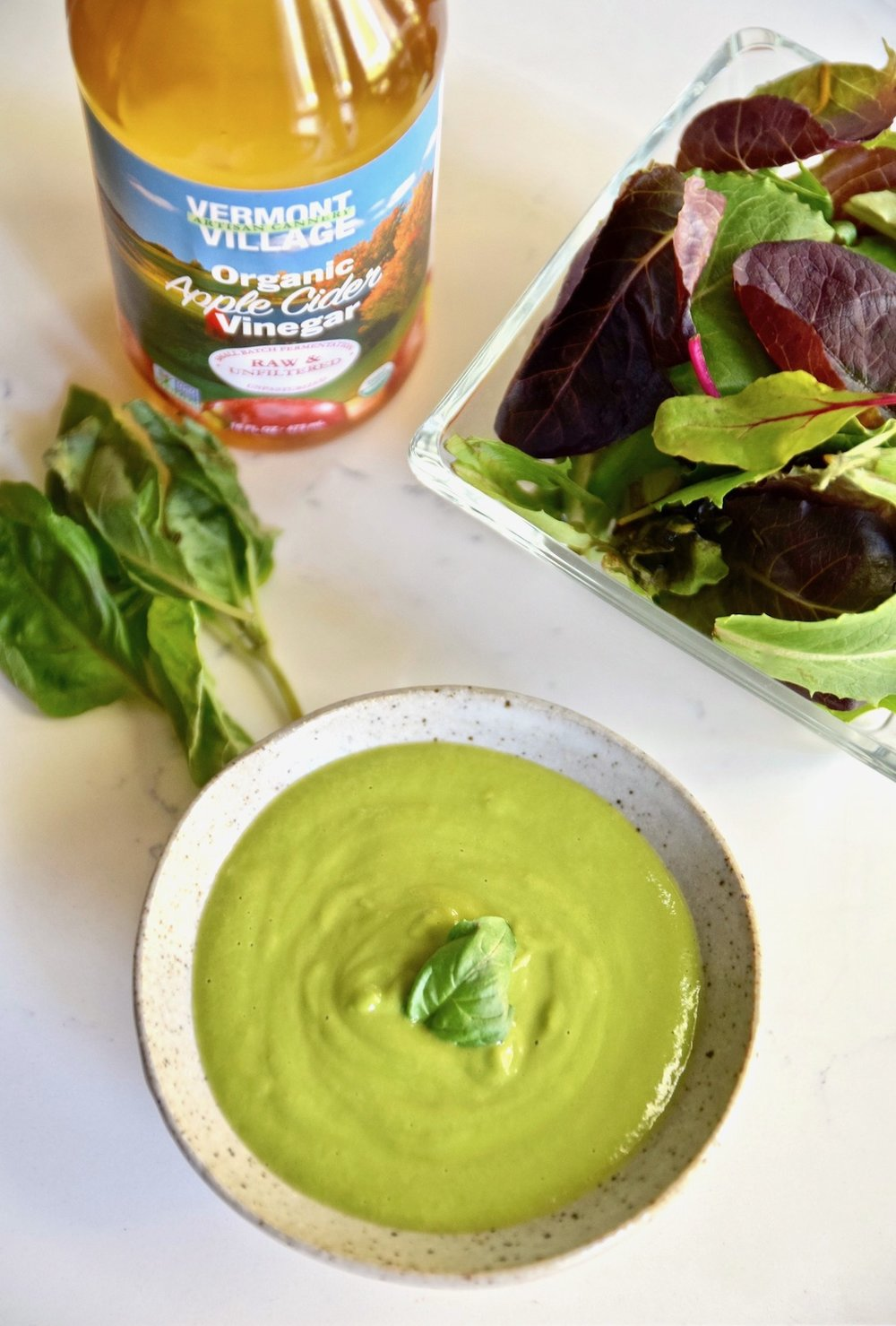 Creamy Avocado Basil Dressing - great creaminess with no mayo or dairy. Completely vegan, paleo and gluten free | TastingPage.com