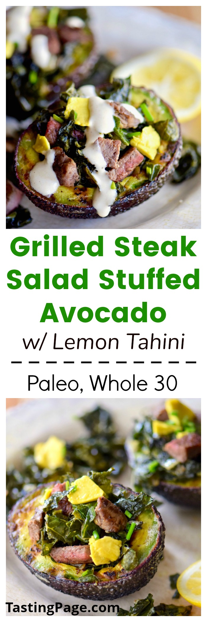 Grilled steak salad stuffed avocado - paleo, whole 30, gluten free, dairy free | TastingPage.com