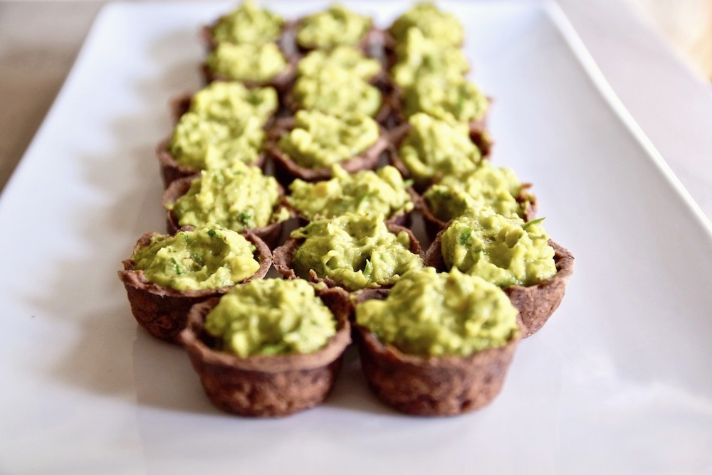 Black bean guacamole cups appetizer