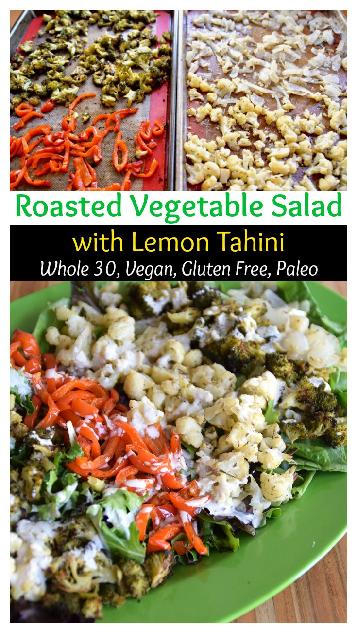 Roasted vegetable salad with lemon tahini - gluten free, dairy free, whole 30 and paleo friendly | TastingPage.com