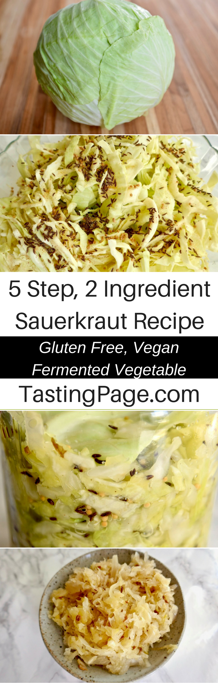 5 step 2 ingredient easy sauerkraut recipe - make your own fermented vegetables can be so easy, and it's so great for your health | TastingPage.com