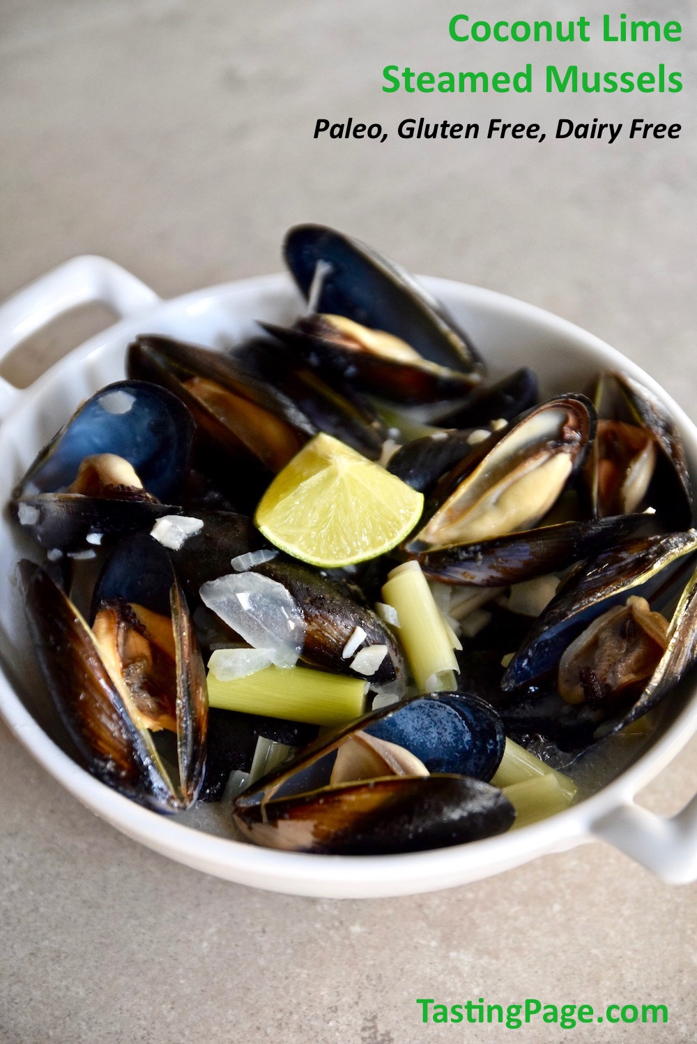 These coconut lime steamed mussels are a great source of selenium, iron and zinc, as well as Vitamins C and B12. So enjoy the healthy Thai flavors that are dairy free, gluten free and paleo friends | TastingPage.com