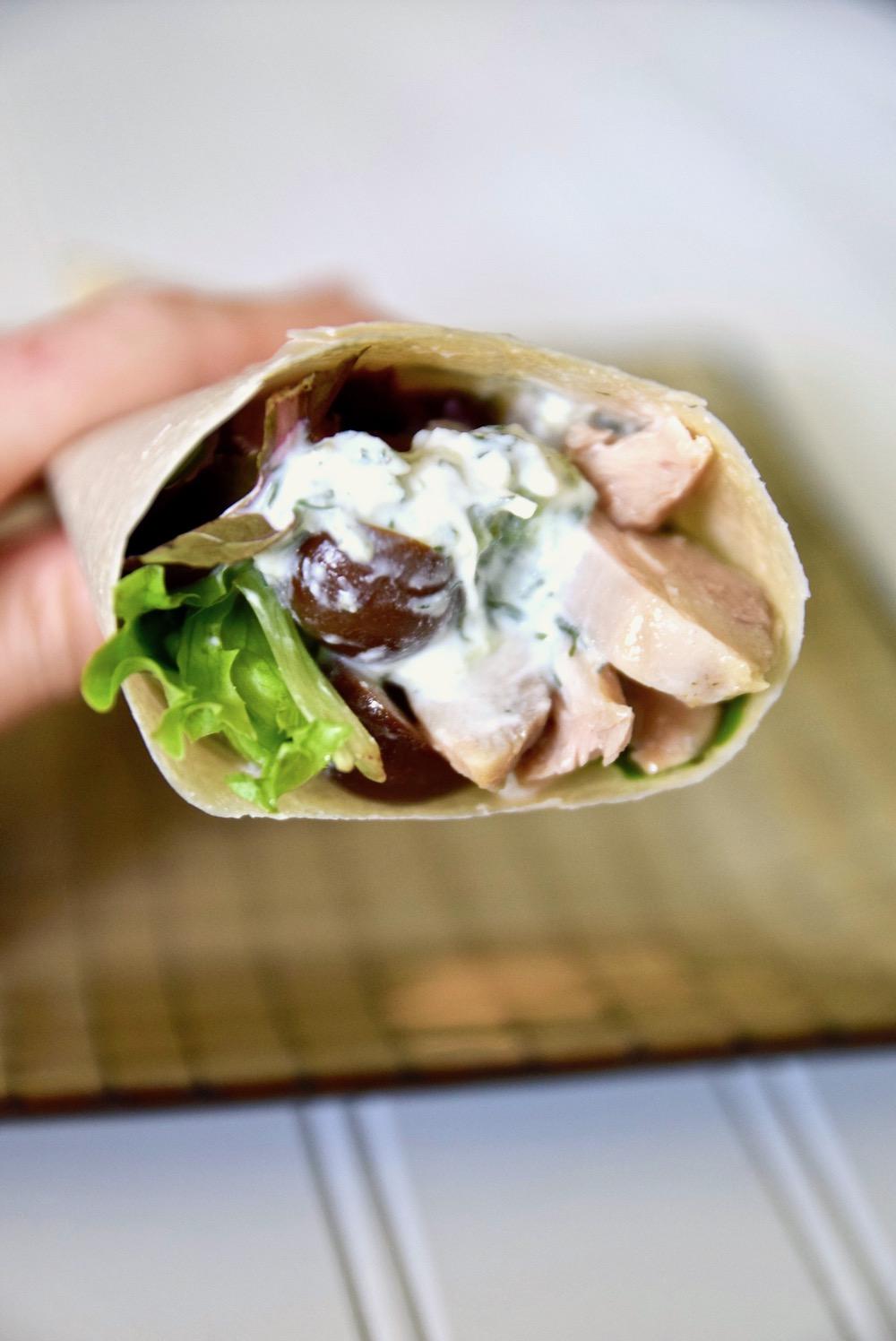 Turkey tzatziki wrap dairy free gluten free paleo