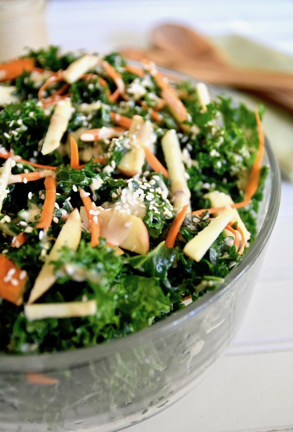Thai Kale coconut apple salad
