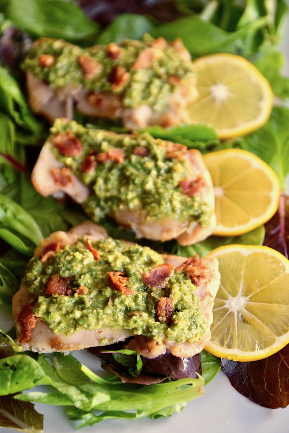 Paleo lemon chicken with bacon and mint gremolata