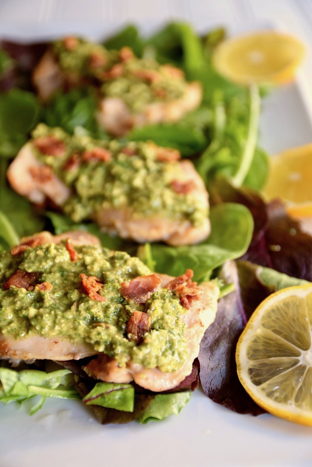 Lemon chicken with bacon and mint pesto