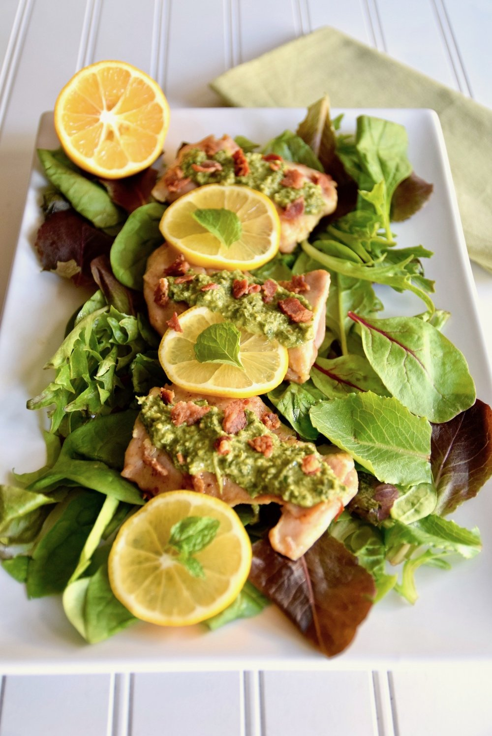 Lemon bacon chicken mint gremolata recipe