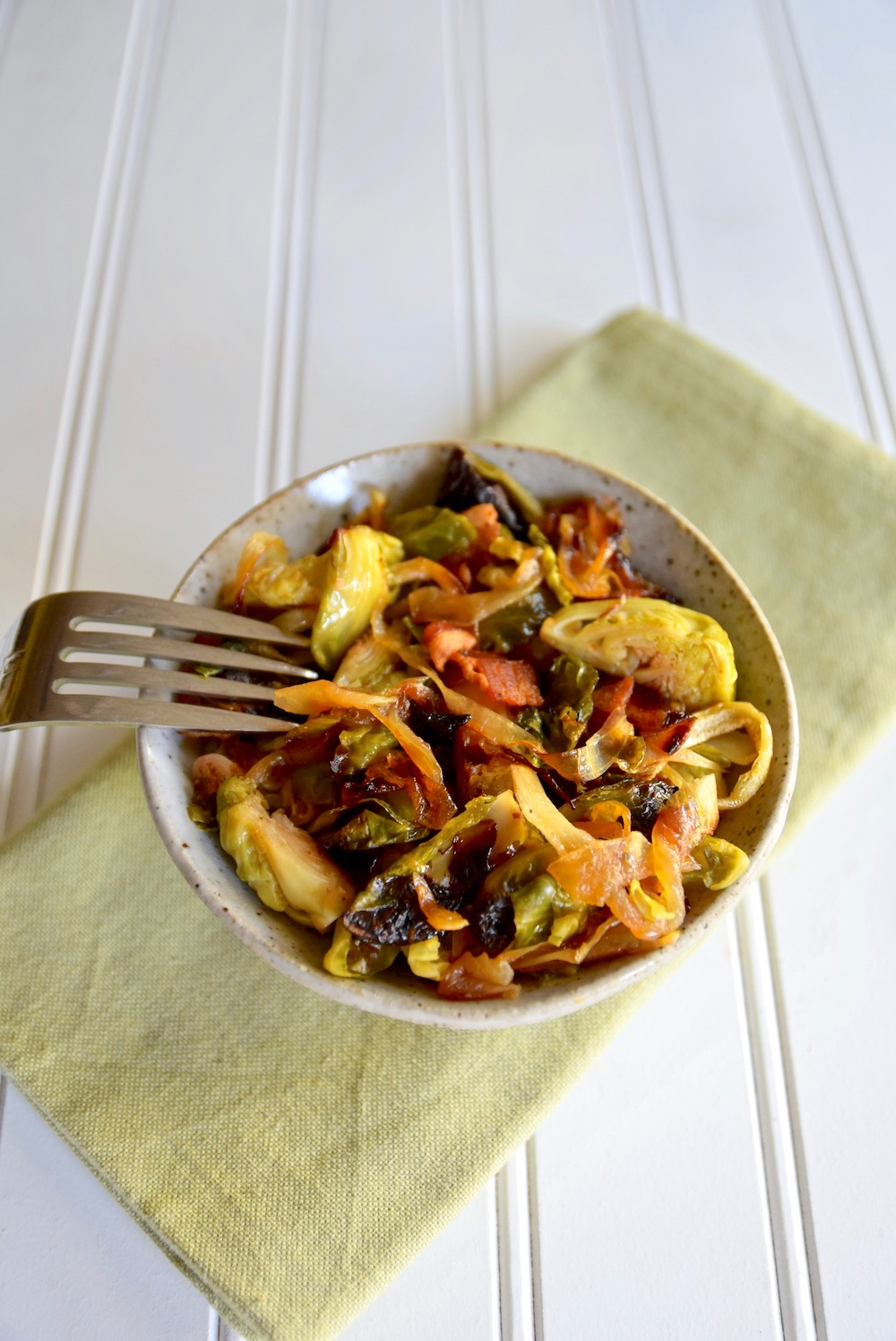 Brussels sprouts with bacon and caramelized onions