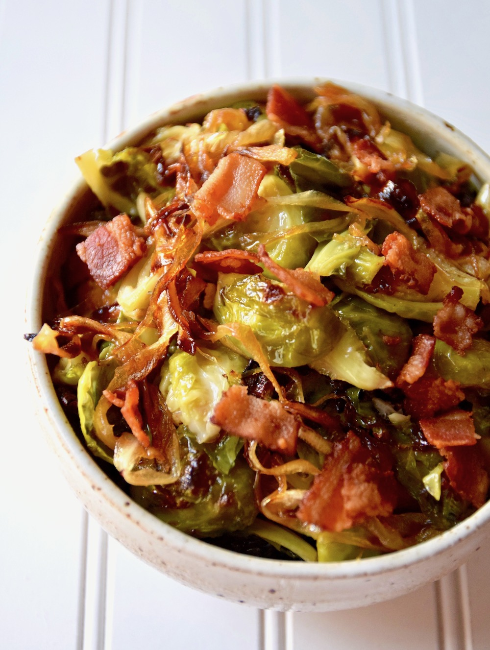 Paleo brussels sprouts bacon caramelized onions