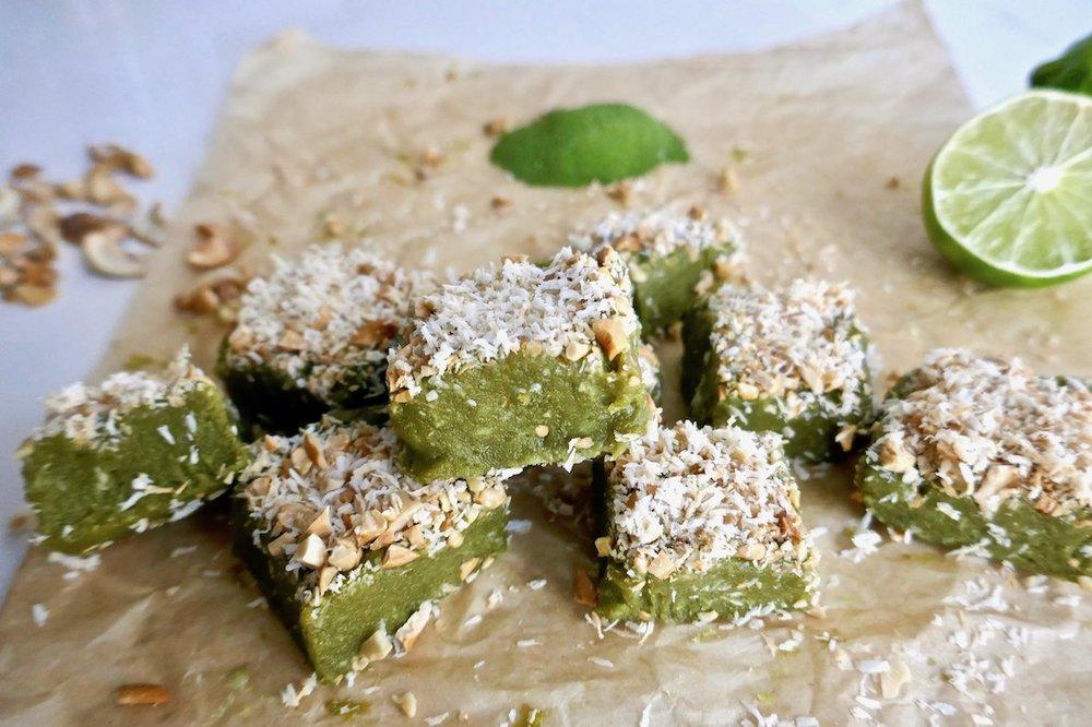 No bake cashew lime green energy bites - gluten free, dairy free, vegan and free from refined sugar | TastingPage.com