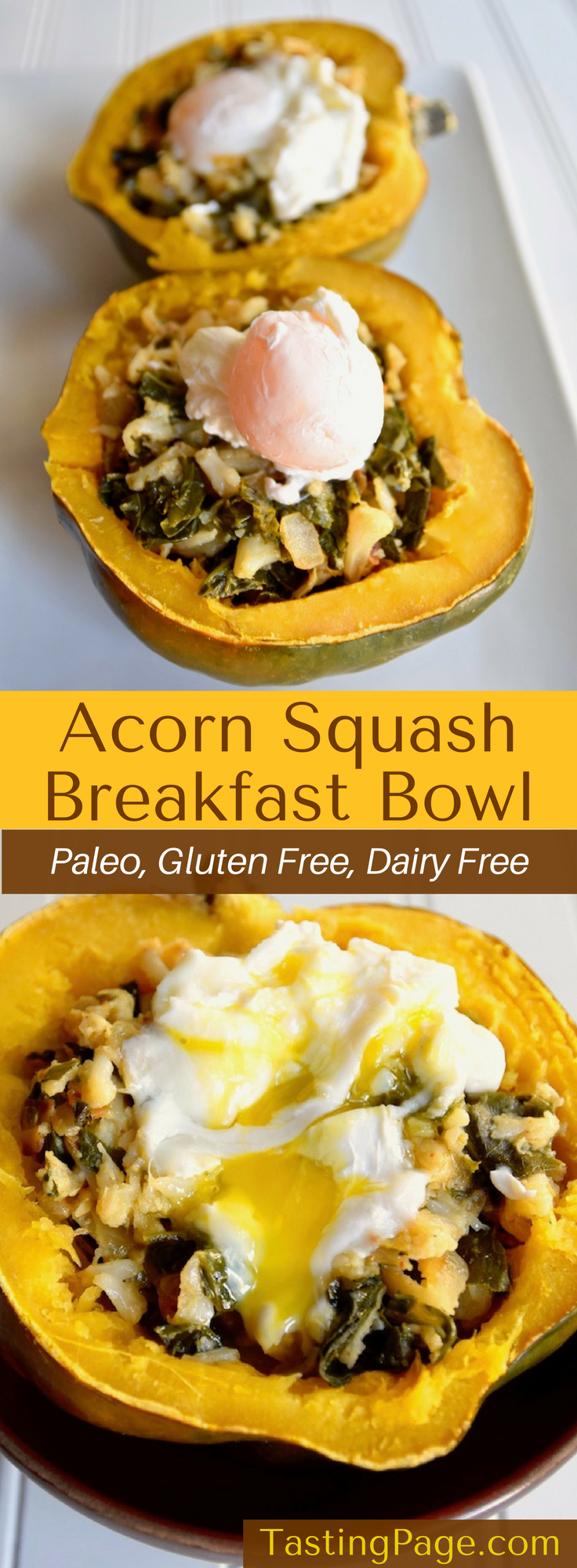 Paleo Acorn Squash Breakfast Bowl - double down on your veggies at breakfast with this cauliflower kale rice stuffed squash with a poached egg on top. It's gluten free and dairy free | TastingPage.com #breakfast #paleo #glutenfree #dairyfree