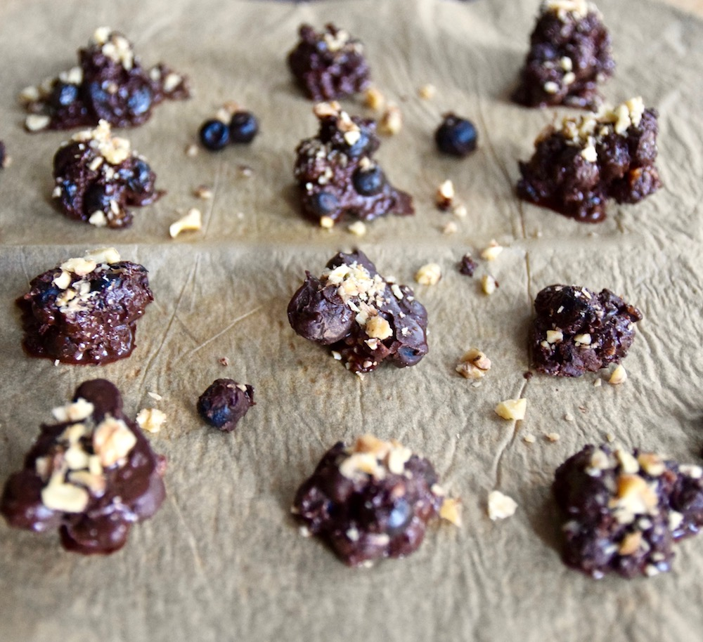 Chocolate covered blueberry clusters