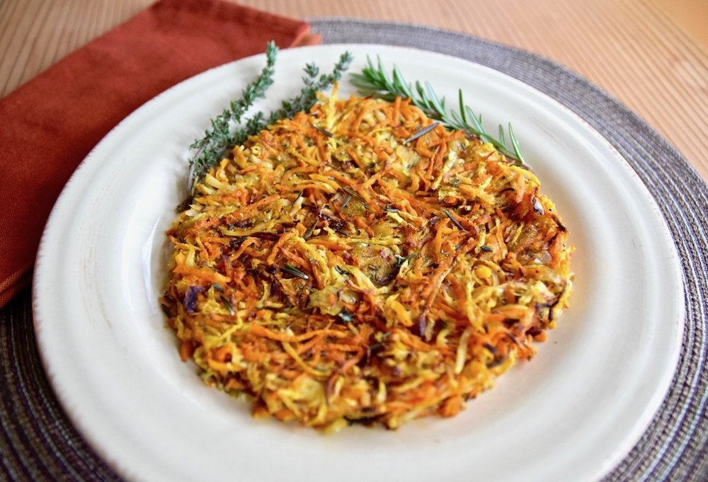 Celery Root Sweet Potato Hash Browns