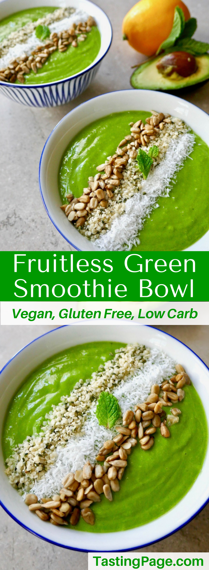 Reduce your sugar intake with this fruitless green smoothie bowl. It'll energize you without a sugar crash afterward. It's gluten free, dairy free, vegan, and free from refined sugar | TastingPage.com