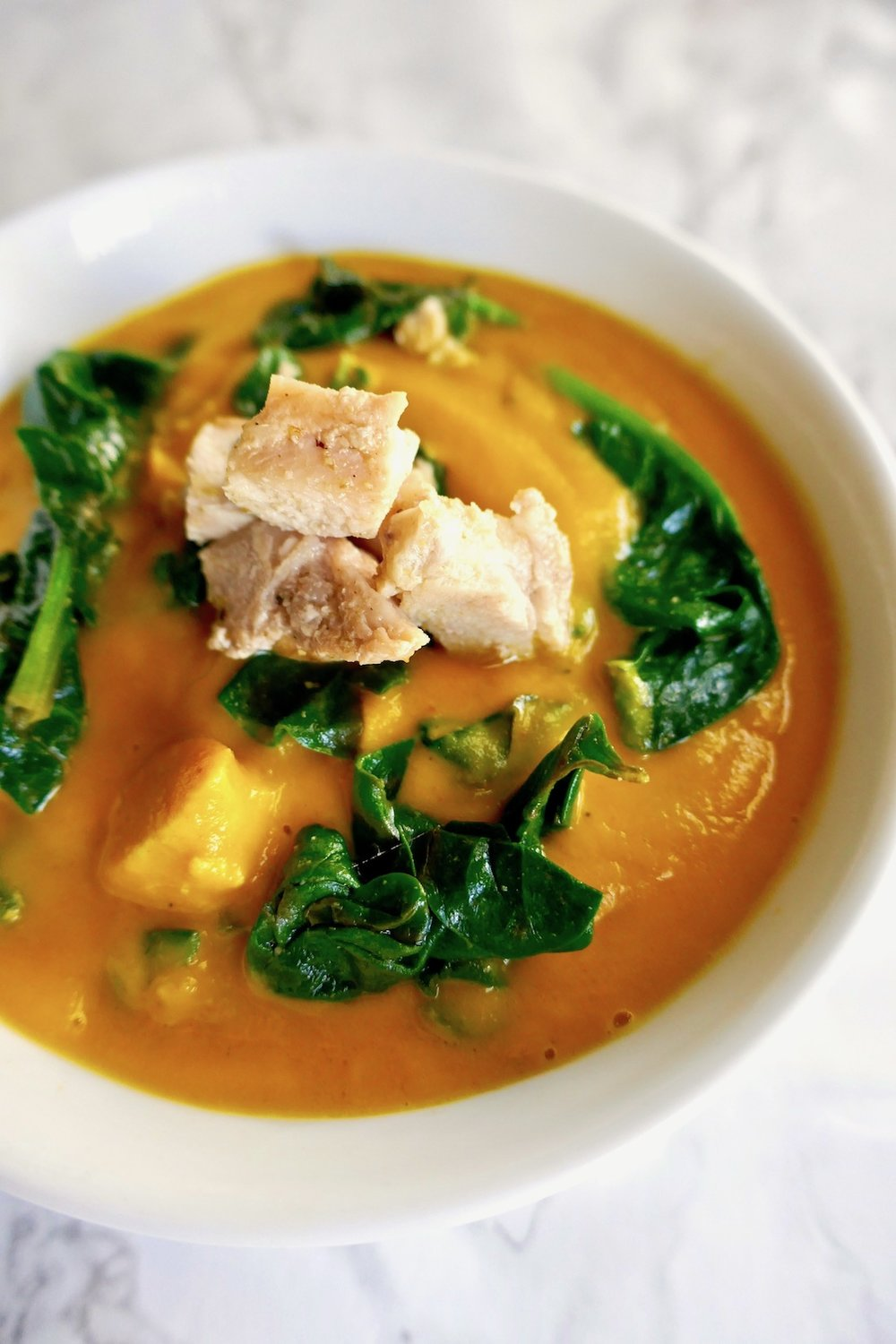 Paleo Whole30 Chicken spinach carrot soup