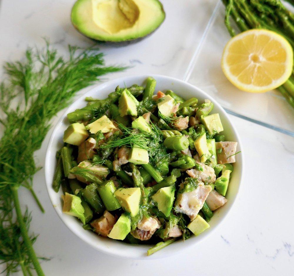 Paleo asparagus avocado chicken salad