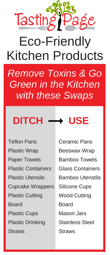 Eco-friendly swaps to remove the toxins from your kitchen | TastingPage.com #ecofriendly #green #earthday #sustainable #healthykitchen #environmentallyfriendly