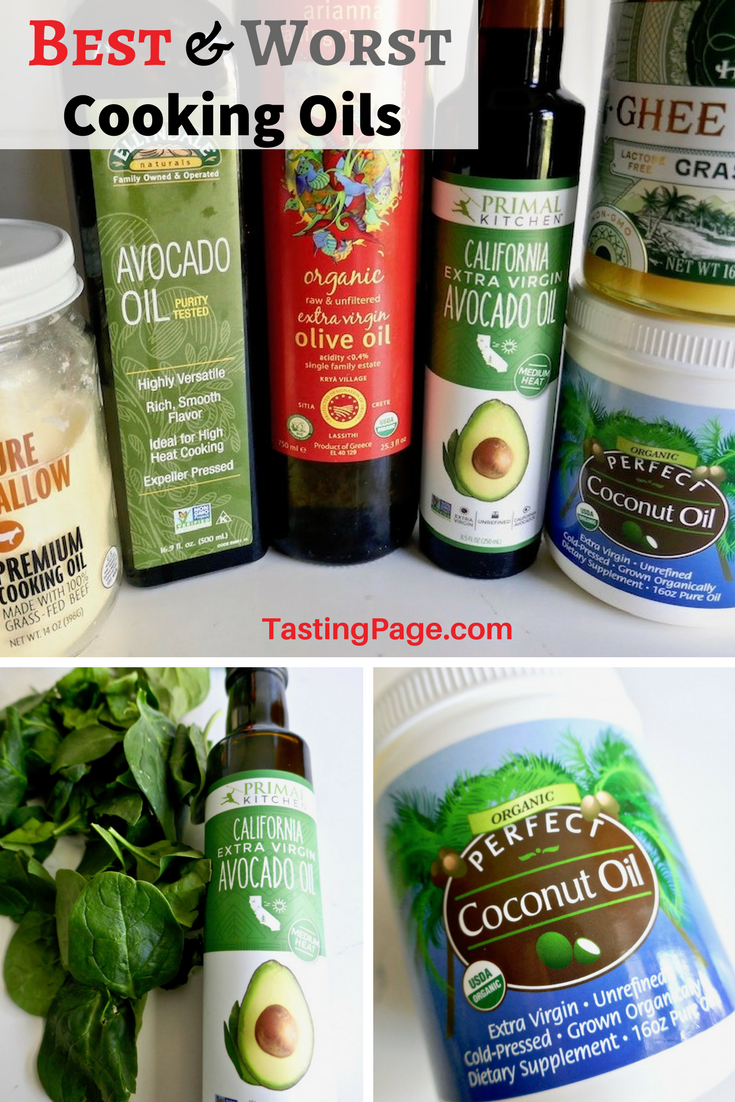 Keep toxins out of your food and keep your body healthy by ensuring that you use the right cooking oils. Here's a list of what cooking oils to avoid, and which are the best. Also learn which oils to use with high heat and which should only be used in cold preparations like salad | TastingPage.com #oils #cookingoil #healthycooking #coconutoil #avocadooil #healthybody