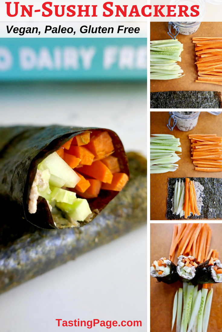 Veggie sushi is a great grain free, gluten free, dairy free snack or load them up for a complete vegan or paleo meal   TastingPage.com #dairyfree #grainfree #glutenfree #sushi #vegan #veggie #vegetarian #paleo
