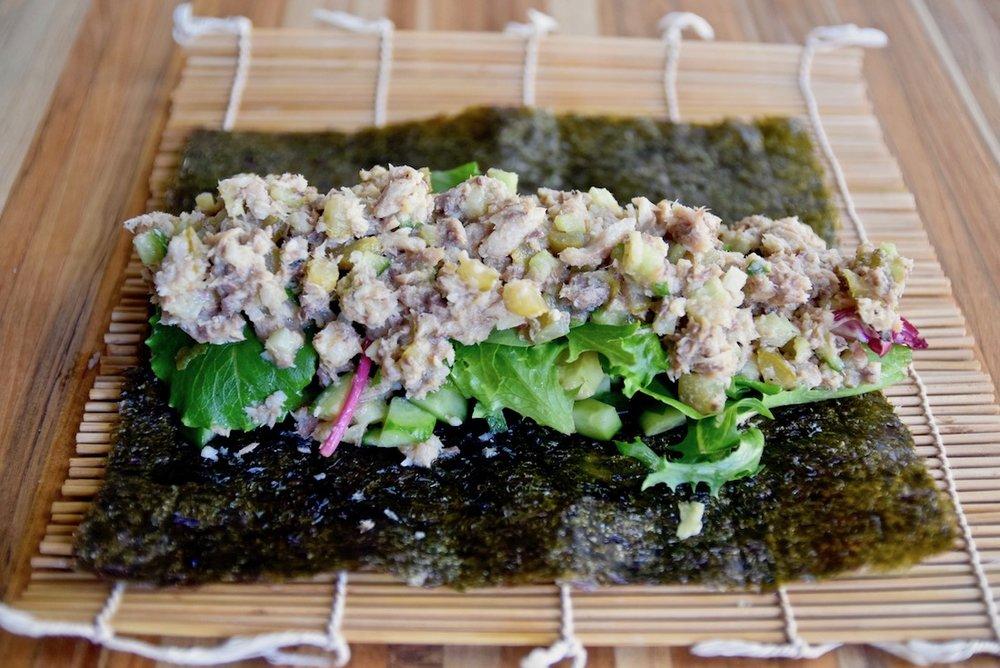 Sardine salad seaweed wrap