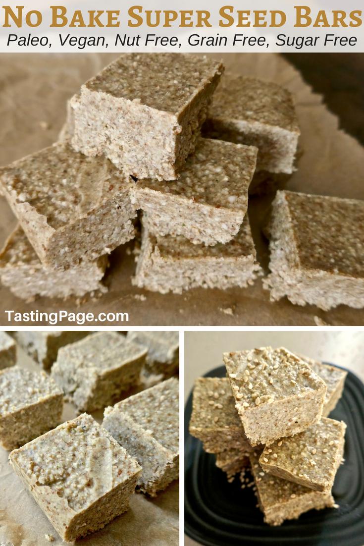 No bake super seed bars are a healthy paleo snack that are nut free, grain free, and sugar free | TastingPage.com #paleo #keto #snack #nutfree #grainfree #sugarfree #dairyfree #vegan