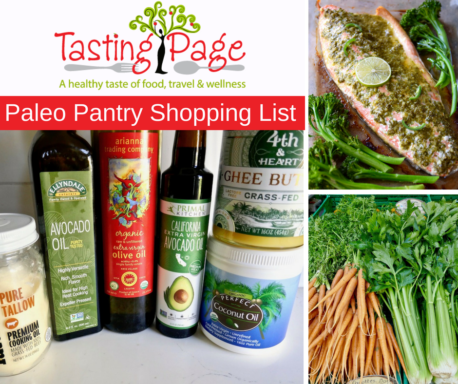 Paleo Pantry shopping list - how to stock your fridge and pantry for gluten free, grain free, dairy free, sugar free cooking | TastingPage.com #paleo #paleodiet #pantry #foodstaples #paleofood