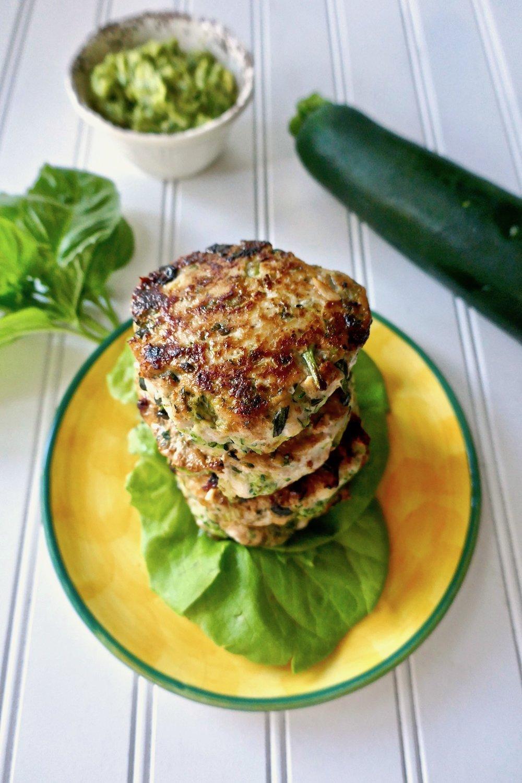 Paleo Zucchini Basil Chicken Burgers