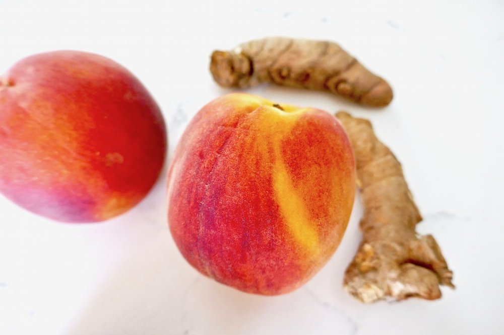 fresh peaches and turmeric