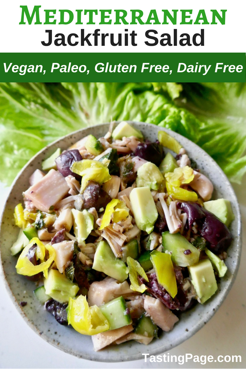 If you're unfamiliar with jackfruit and how to cook with it, start with this easy vegan Mediterranean jackfruit salad. It's fresh tasting, gluten free, dairy free, and paleo friendly | TastingPage.com #jackfruit #paleo #vegan #veganrecipe #vegansalad #glutenfree #dairyfree