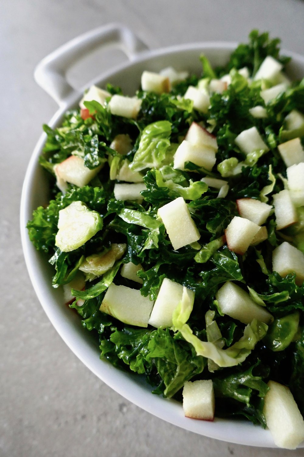 Vegan kale brussels salad - the perfect holiday side salad