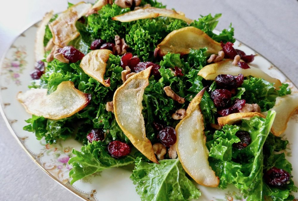 Roasted pear cranberry salad