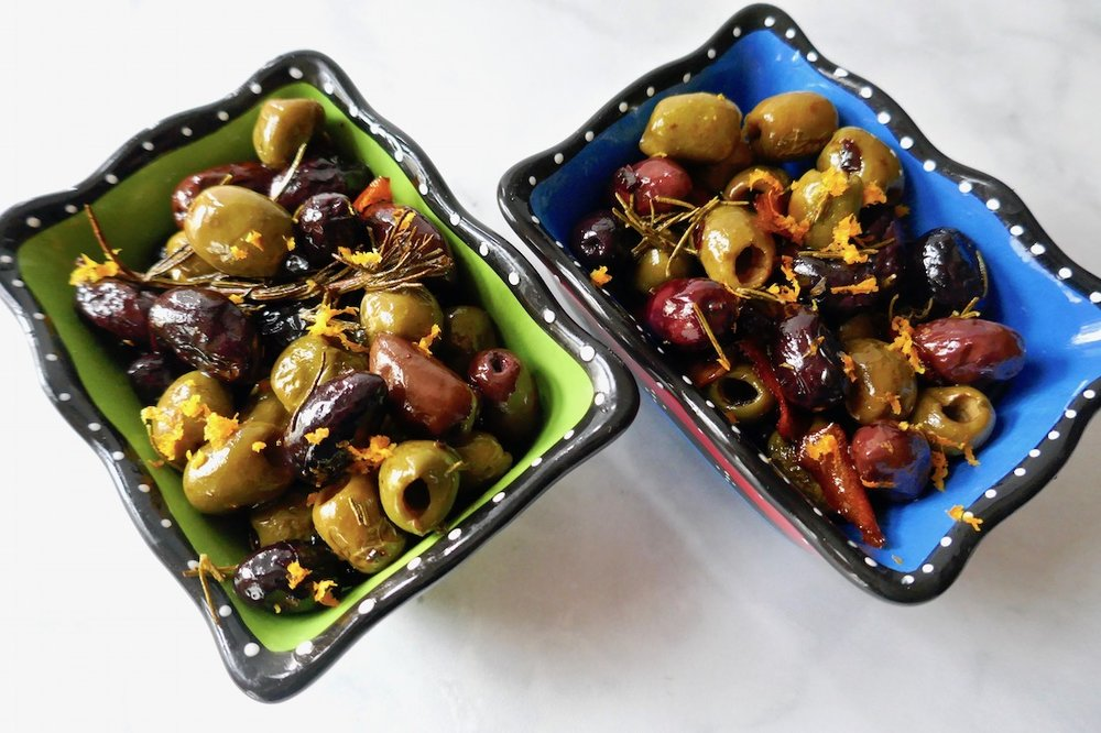 herb citrus baked olives