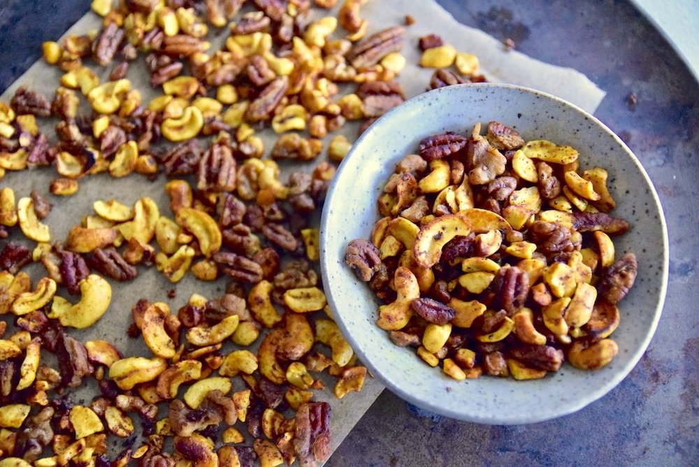 Turmeric lime nuts are a healthy fat protein packed snack for a good night's sleep