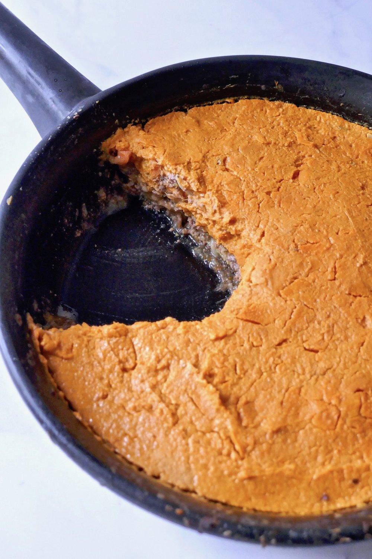 paleo sweet potato shepherd's pie in a skillet