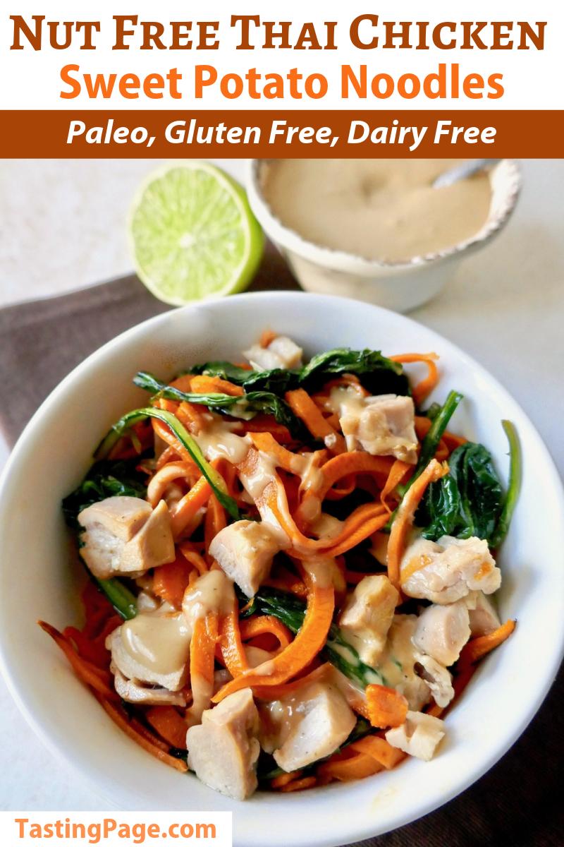 Nut free thai chicken sweet potato noodles - a paleo, gluten free, dairy free dish that avoids extra allergens   TastingPage.com #nutfree #dairyfree #glutenfree #paleo #thai #satay #chicken #sweetpotatoes #paleorecipe #paleodiet