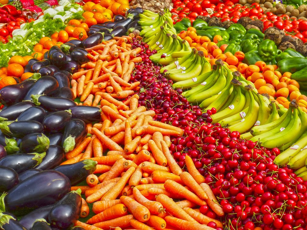 colorful lineup of fruits and vegetables
