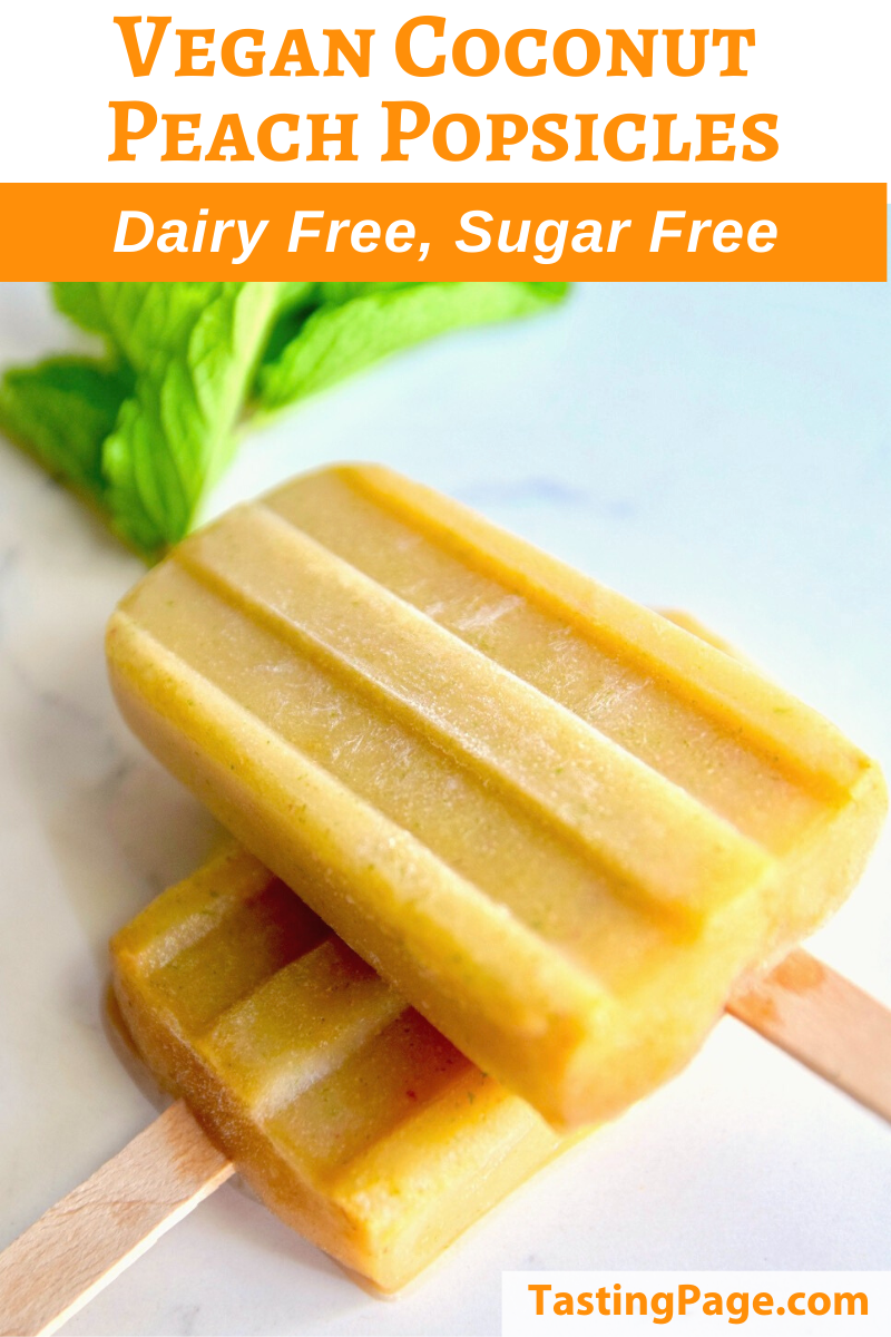 Vegan Coconut Peach Popsicle - sugar free and dairy free | TastingPage.com
