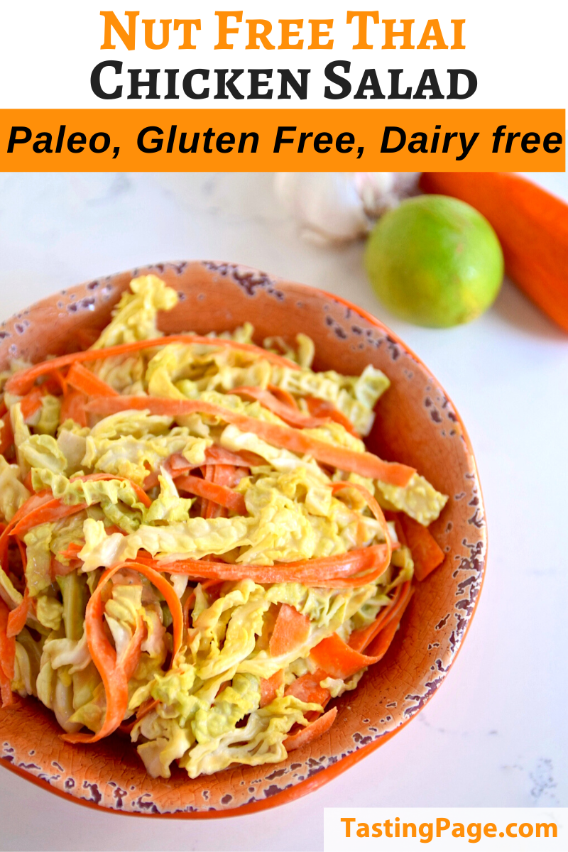 Nut-Free Thai Chicken Salad - gluten free and dairy free | TastingPage.com