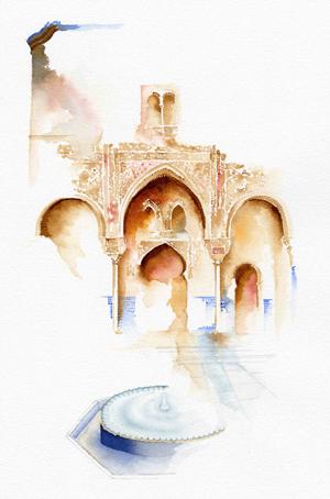 courtyard-of-the-mexuar-alhambra-palace-granada-II-watercolor-copyright-sophia-khan.jpg