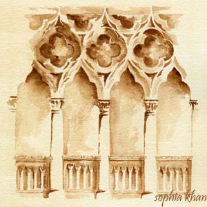 Watercolor on tea stained Arches paper
