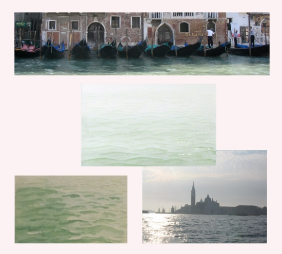 Watercolor studies and photographs of Venetian Waters