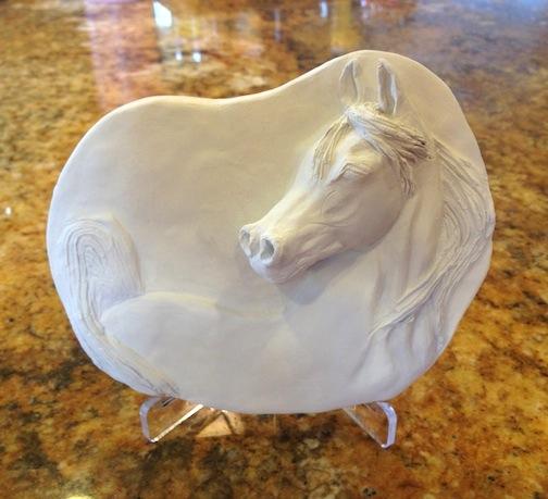 """Arabian in Porcelain (Unfired) 5 1/4""""W x 4 1/4"""" W x 1"""" H"""