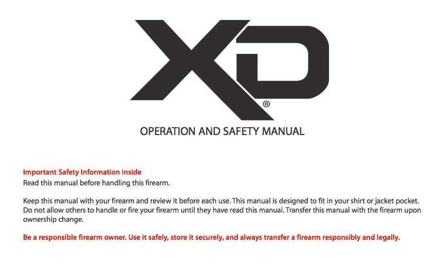 To view the V.3 version of the Springfield XD manual click the picture above.